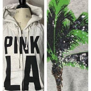 PINK VS LA hooded zip sequins